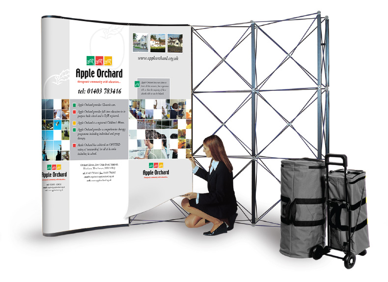 Pop-up exhibition stand setup